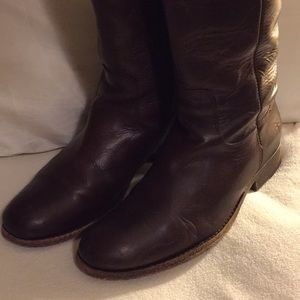 """Frye 1"""" Heel Brown Leather Riding boots"""